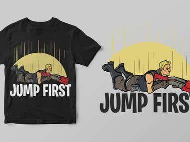 Fortnite theme Jump first T-shirt