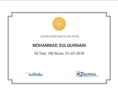 IQ Test Certificate from BAYT