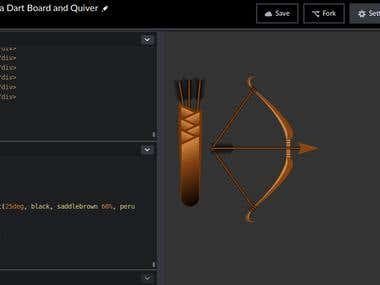 HTML and CSS3 Bow and Quiver with a Dart board