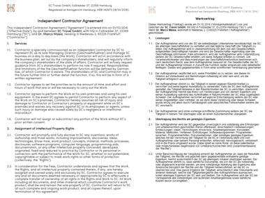 English-German Agreement Translation