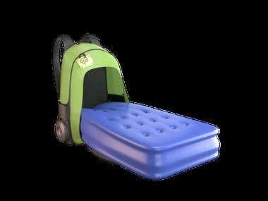 Bag with inflatable bed Animation + 3D Design