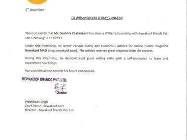 Certificate from Bewakoof.com