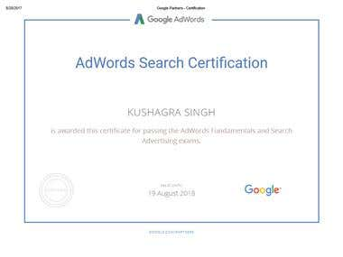 GOOGLE ADWORD SEARCH CERTIFICATE