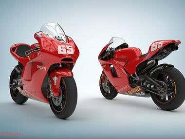 Designing 3D model motobike by Maya