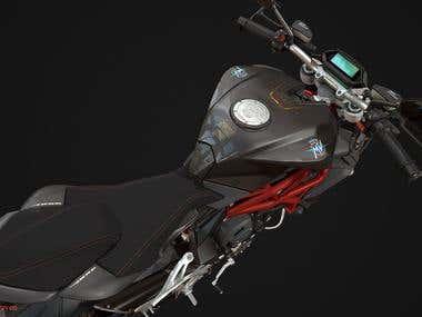 Design 3D model motobike