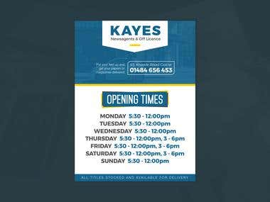 Signage for Kayes Newsagents & Off Licence, UK