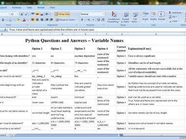 sample web search to excel