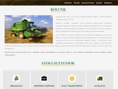 Webpage for a harvesting company