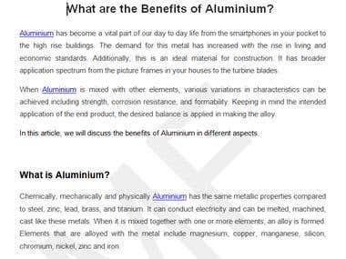 Benefits Of Aluminium
