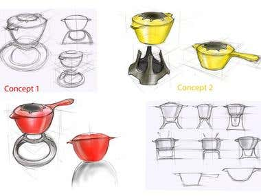 Concept sketches and 3D