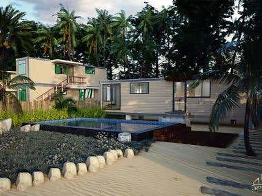 Container Resort Presentation Design and 3D Visualization