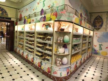 Easter artwork in Harrods food halls