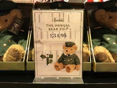 Harrods annual bear A4 POS sign