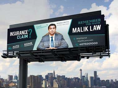 MALIK LAW INSURANCE COMPANY BILLBOARD SIGN