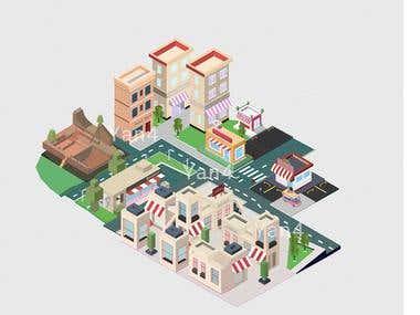 Isometric city design and illustration