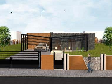 Renders exterior , house plan .