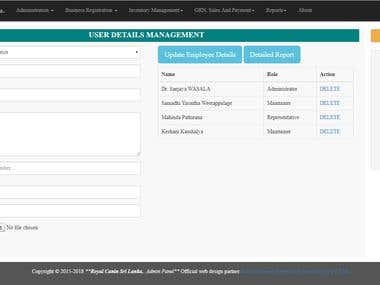 Online delivery + inventory + custom bar code management.