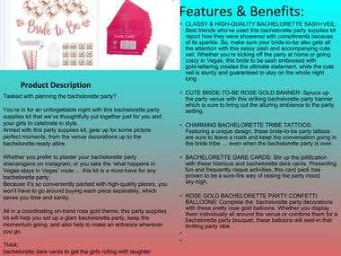 Amazon Product Description for a Bachelorette Party Kit