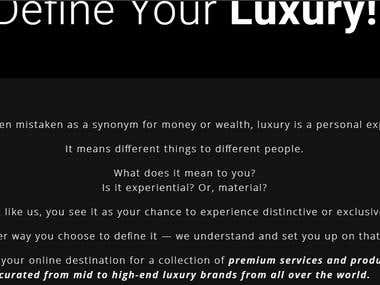 Homepage For A Luxury Brand Website