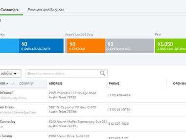 Customer List in Quickbooks Online.