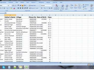 excel entry of student data