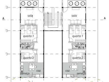 Floor plan of 2 family units structured in the same building