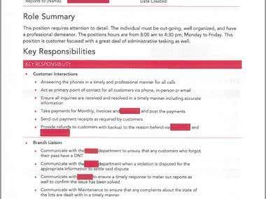 Job Description Sample