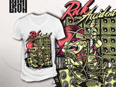 "T-shirt design ""Rock accident"""