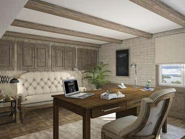 Home office rustic design!