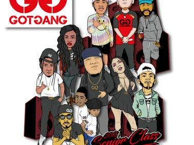 Gotgang album cover / character designs