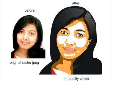 raster to vector or cartoon characters