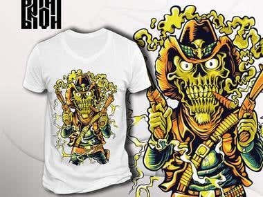 """T-shirt design """"Killer skull"""""""