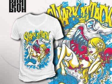 "T-shirt design ""Shark attack"""