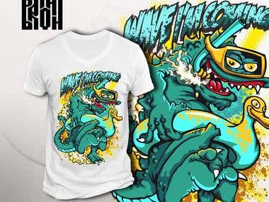 "T-shirt design ""Wave I'm coming"""