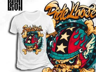 "T-shirt design ""Ride loose"""