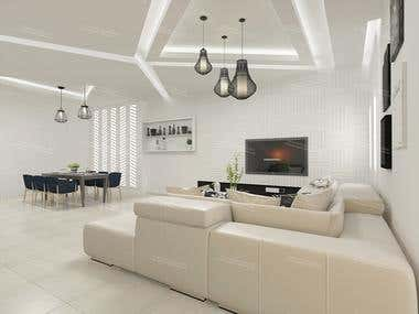 Living room design and 3D realistic visualization