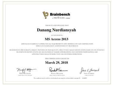 Brainbench Certified MS Access