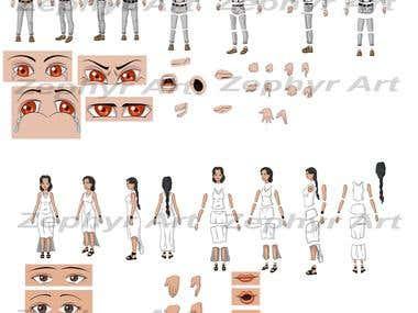 Character split illustrations