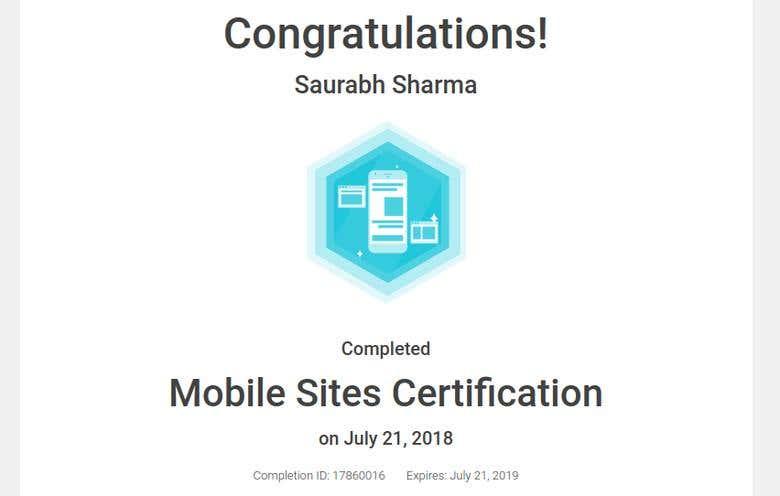 Mobile Sites Certification Freelancer