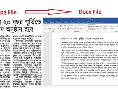 Bengali Typing from jpg/png to docx format for $6/1000 words