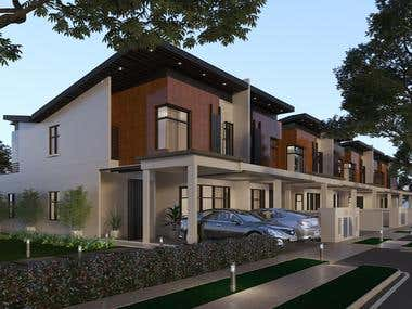 Terrace House Exterior Realistic Render
