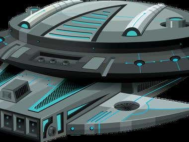 2d spaceship design
