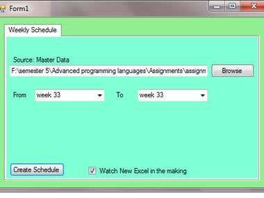 ginx weekly schedule (C#.NET)