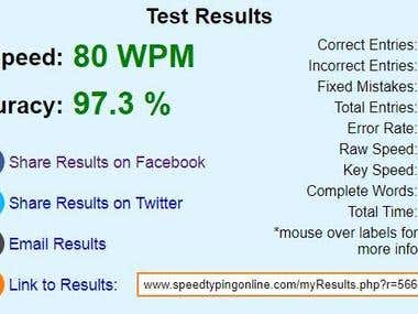 Typing Speed Test - Can do faster Data Entry - Typing Work.