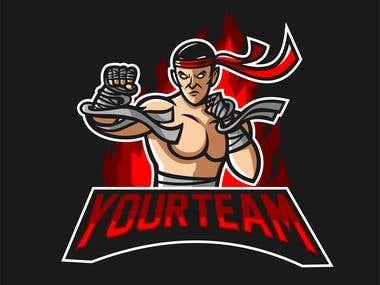 muay thai fighter mascot for esport logo