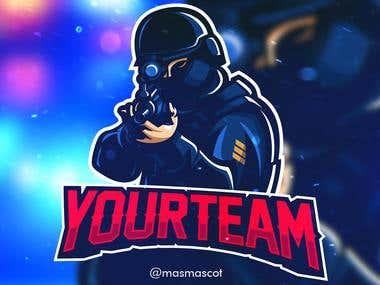 cop swat mascot for esport logo
