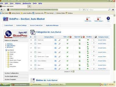 Joomla product listing
