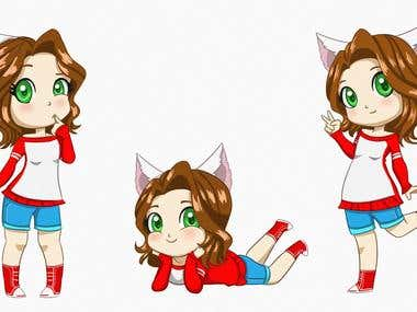 Cat Chibi Girl poses
