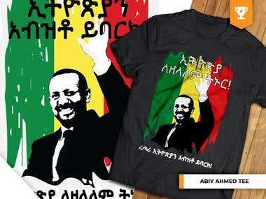 Abiy Ahmed with Ethiopian Flag T-Shirt