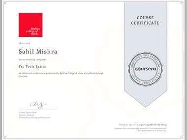 Protools Basics Course Certificate